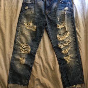 Zara Trafaluc Destroyed Boyfriend Jeans